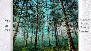 Misty Forest STEP by STEP Acrylic Painting Tutorial (ColorByFeliks)