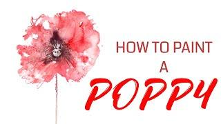 HOW TO PAINT A POPPY loose watercolour poppy painting REAL TIME TUTORIAL