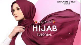 4 STYLES|| MOST SIMPLE & SWEETS || HIJAB TUTORIAL|| WEDDING|| HANGOUT||⚘