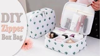 DIY ORGANIZER ZIPPER BOX BAG NO SEW // Travel Bag Design Tutorial