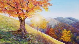 Autumn Trees Landscape Acrylic Painting LIVE Tutorial