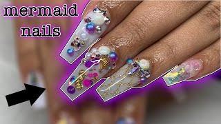Mermaid coffin nails on Jania Meshell   Acrylic nail tutorial