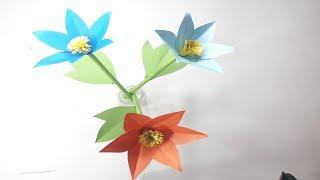 How to Make Beautiful Eye Catching Flower With Color Paper | DIY Paper Flower Making Tutorial