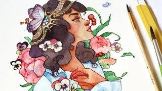 WATERCOLOR TUTORIAL // ART NOUVEAU Inspired Watercolor Illustration no 2!
