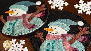 How to Make Snowman Wooly Mug Rugs | A Shabby Fabrics Tutorial