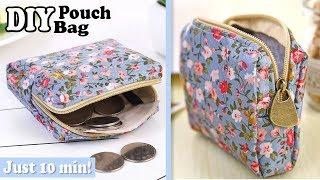 DIY CUTE ZIPPER COINS POUCH BAG TUTORIAL // Purse Woman or Kids You Can Easy Sew Yourself