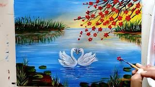 Beautiful Swan Pair in a Lake | Lake Scenery Painting | Acrylic Painting Tutorial