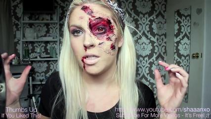 Makeup Halloween Tutorial   Burnt & Bloody SFX Makeup   Liquid Latex 720p