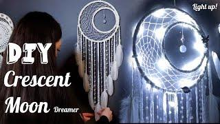 DIY Crescent Dreamcatcher with Fairy Lights Tutorial