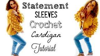 Crochet Statement Sleeves Bobble Vest/Cardigan Tutorial