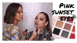 PALETTE LOKAL DAHSYAT!!! PINK SUNSET EYES TUTORIAL FT. SAIRA NISAR