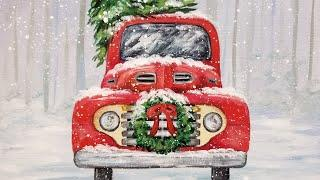 Red Christmas Truck with Wreath Acrylic Painting LIVE Tutorial
