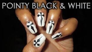 Pointy Black & White Gel Mani | DIY Nail Art Tutorial