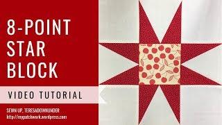 8 pointed star quilt block video tutorial