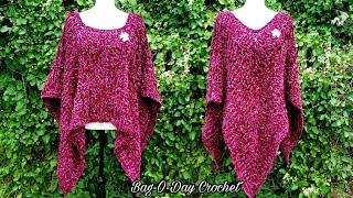 How To Crochet - Blanket Poncho | Crushed Velvet | BAGODAY CROCHET TUTORIAL #514