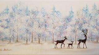 Simple Winter Landscape with Deer Acrylic Painting LIVE Tutorial