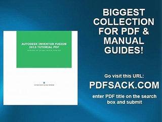 Autodesk Inventor Fusion 2013 Tutorial Pdf