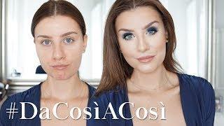 Make up Tutorial Blu Glam Smokey Eyes & Base viso Coprente | #DaCosìACosì
