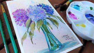 How To Paint Hydrangea Flowers Beginner Watercolor Tutorial