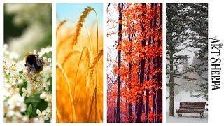 Easy Painting in acrylic  4 Seasons Multi canvas tutorial