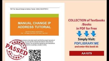 Manual Change Ip Address Tutorial