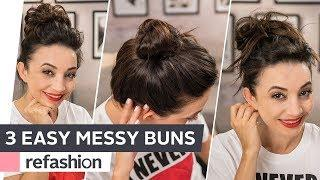 Frisuren Tutorial : Top Knots - Messy Bun in 3 Varianten ~ refashion | OTTO