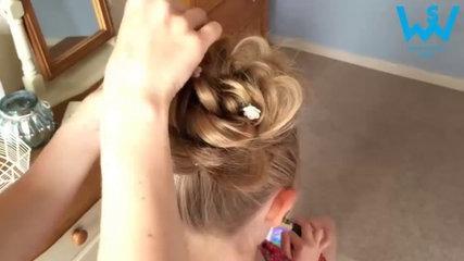 Messy bun hairstyle tutorial for girls