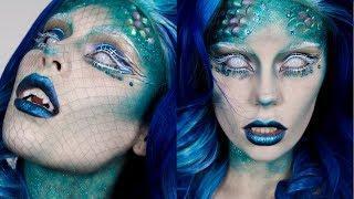 Mermaid Halloween Makeup + Easy Fish Scale Prosthetics & Fangs Tutorial