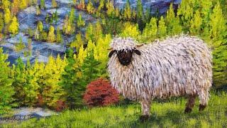 Autumn Landscape with Blacknose Sheep Acrylic Painting LIVE Tutorial
