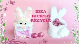 Tutorial Pasqua: come fare coniglio con riciclo, facile veloce, decorazione fai da te