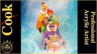 Four Carolers Acrylic Painting Tutorial for Beginner and Advanced Artists with Ginger Cook
