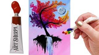 EASY Autumn Tree with waterfall moon   Q Tip Acrylic Painting tutorial