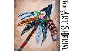 Bohemian Arrow Head Flowers and Feathers Beginner Acrylic Tutorial  #Southwestweek