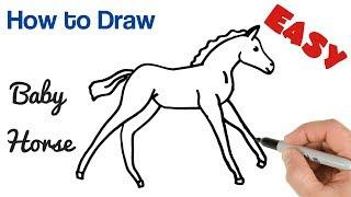How to Draw Baby Horse Foal Easy | Baby Animals Art Drawing Tutorial