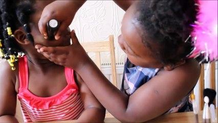 TODDLER APPLYING MAKEUP ON SISTER | Kids makeup tutorial | FunSea Sisters