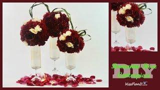 DIY Tall Romantic Rose Wedding Centerpiece | Dollar Tree Vase Hack | DIY Tutorial