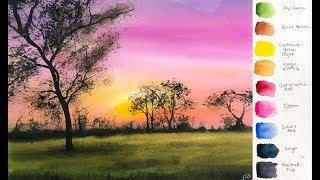 Pink Sunset Landscape in Watercolor Painting Tutorial