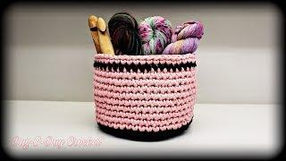 How To Crochet - Easy T-Shirt Yarn Bowl | Basket | BAGODAY CROCHET TUTORIAL #511