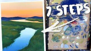 How to Draw + Paint Perspective: Acrylic Landscape Tutorial