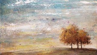 Simple Abstract Tree Landscape Acrylic Painting LIVE Easy Beginner Tutorial