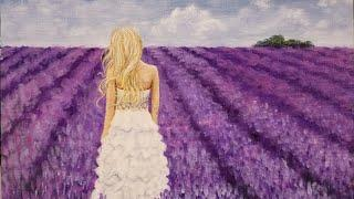 Woman in Lavender Field Acrylic Painting LIVE Tutorial