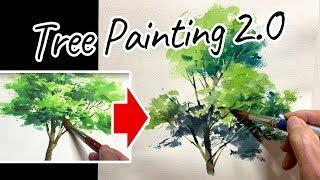 [Eng sub] Watercolor Tree painting Easy Tutorial 2.0 |  for Beginners