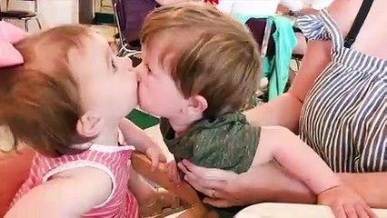 Babies Reaction About Kissing Moments - Cute Baby Video