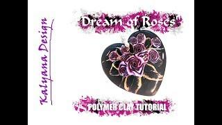 """Dream of Roses"" heart pendant - polymer clay tutorial 514"