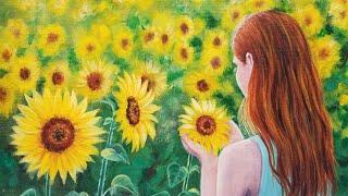 Sunflower Girl Acrylic Painting LIVE Tutorial