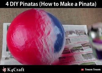 4 DIY Pinatas! How to Make a Pinata  via: Troom Troom - easy DIY video tutorials, youtube.com/troomt