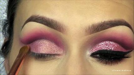 Pink Glitter cut crease makeup tutorial