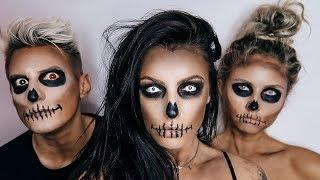 SKULL HALLOWEEN MAKEUP TUTORIAL For BEGINNERS! *Scaring People in Public*