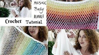 Mosaic Crochet Baby Blanket Tutorial